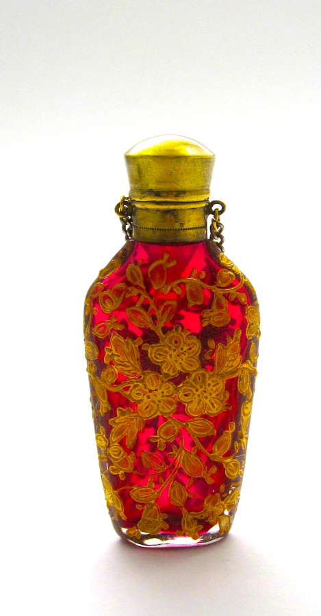 Antique MOSER Cranberry Glass Enamelled Perfume Bottle