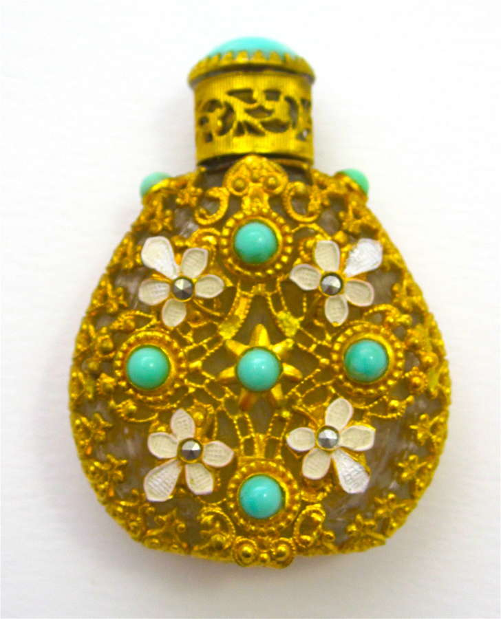 Vintage Czech Perfume Bottle with Turquoise Jewels