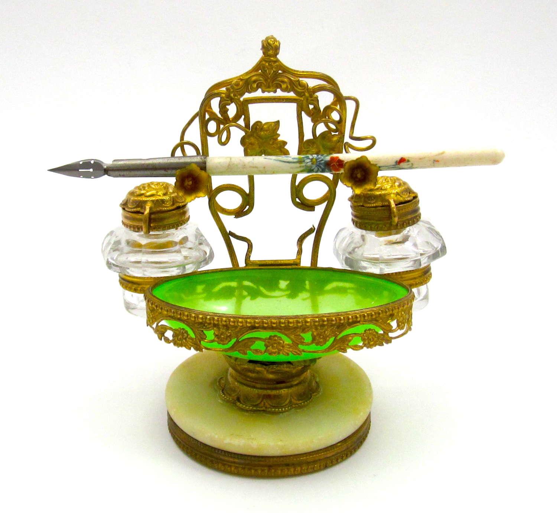 A Palais Royal Green Opaline Glass Ink Set