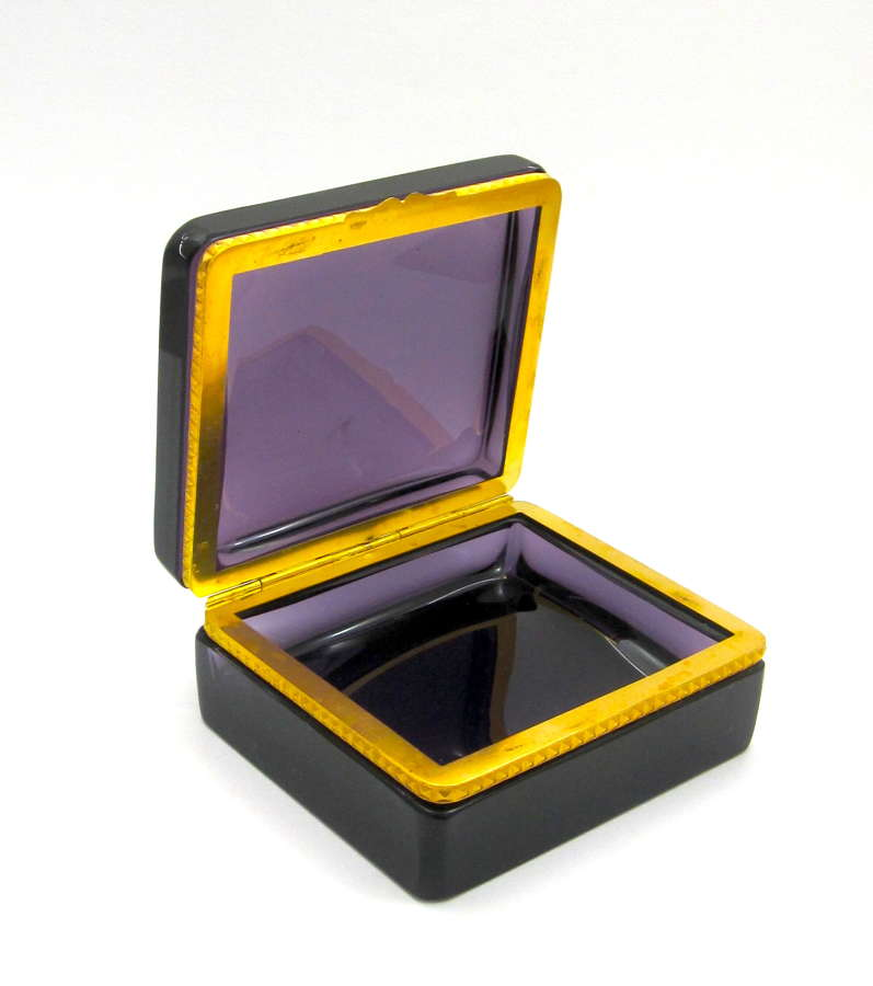 Antique Amethyst Glass Casket Box
