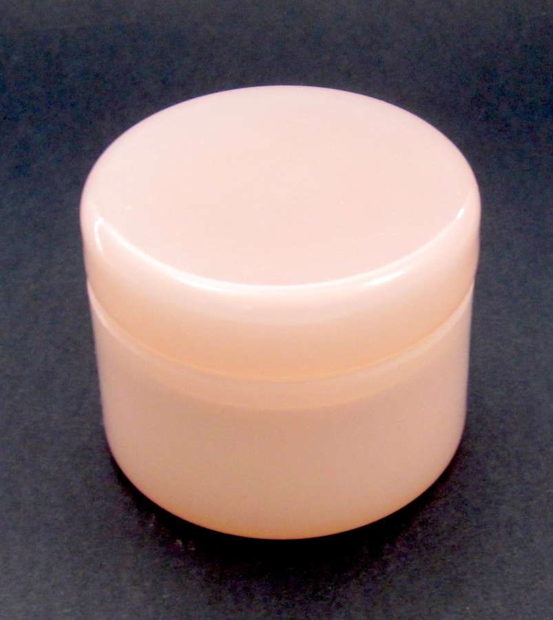 Antique Pale Pink Opaline Glass Round Box