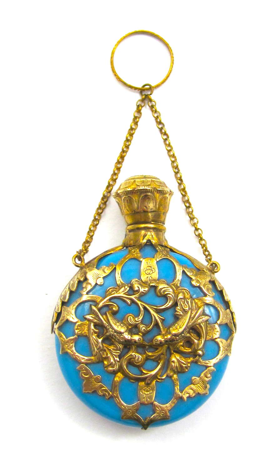 A Superb Antique Blue Opaline Glass Scent Bottle with Two Love Birds