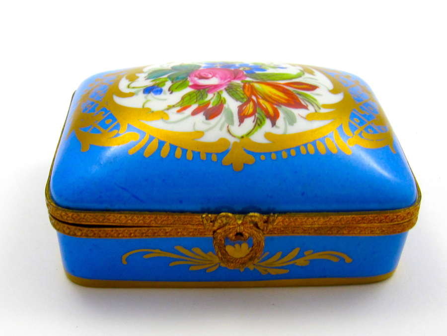 Vintage French Turquoise Blue Porcelain Casket with Flowers