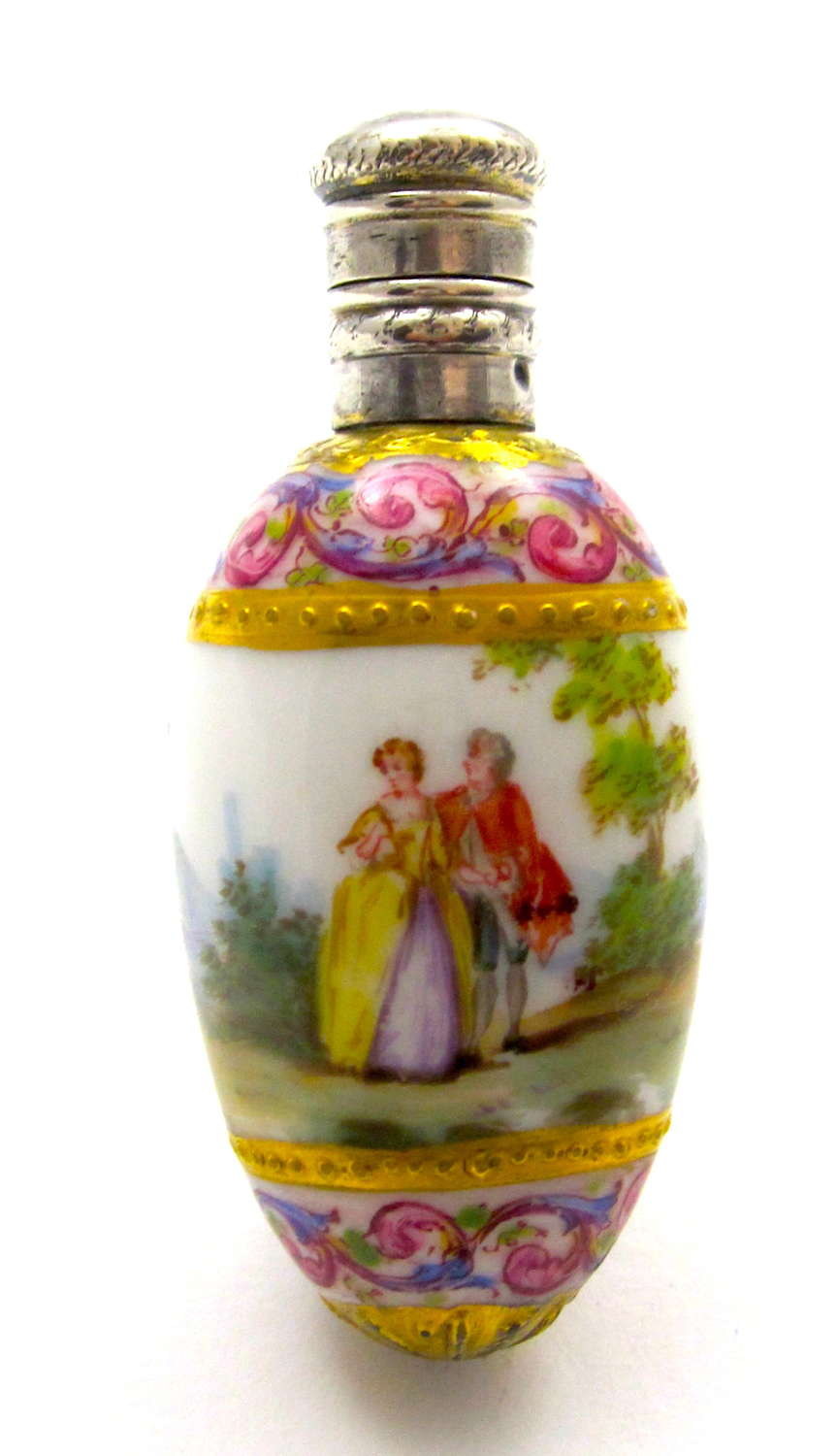 A High QualityAntique French Hand Painted Porcelain Perfume Bottle