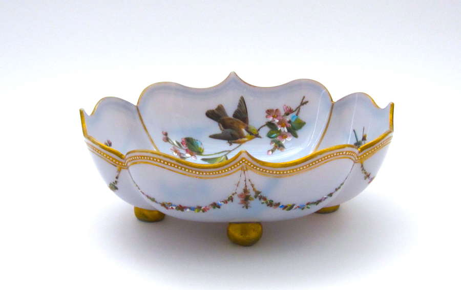 Antique Pale Lavender Opaline Glass Dish Decorated with Birds