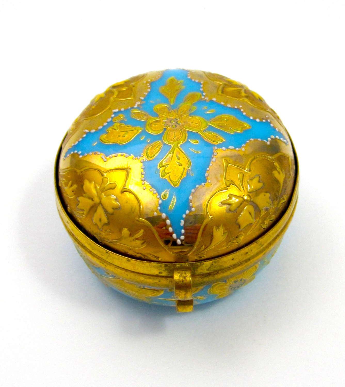 Antique MOSER Turquoise Opaline Glass Miniature Pill Box