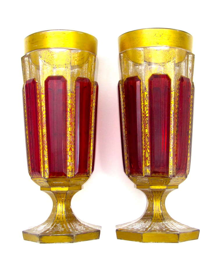 Pair of Antique Moser 'Jewel' Glass Vases with Ruby Red Cabochons