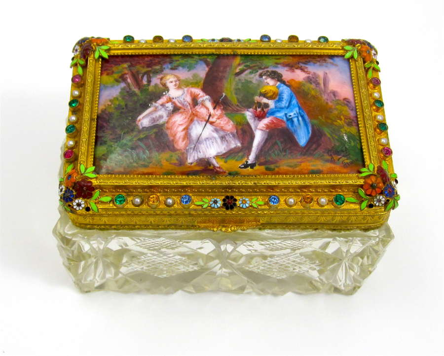 High Quality Palais Royal Signed Dore Bronze and Enamelled Box