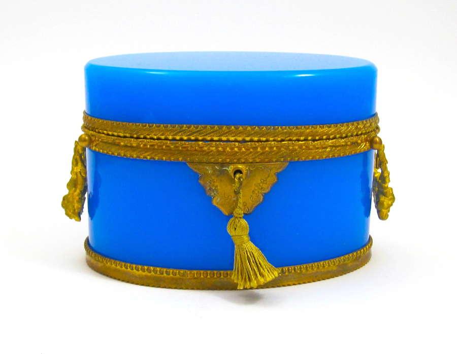 Fine AntiqueFrench BlueOpaline Opaline Casket withDouble Handles