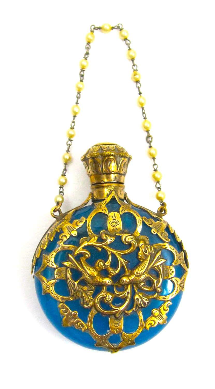 A Superb Antique Palais Royal Blue Opaline Glass Scent Bottle