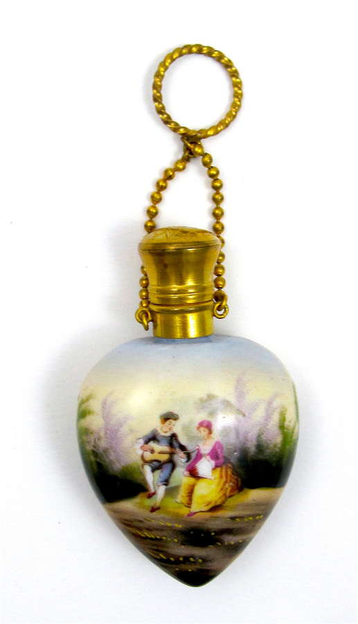 A High QualityAntique Heart Shaped French Porcelain Perfume