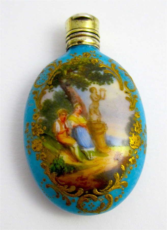 Antique French TurquoisePorcelain Perfume Bottle