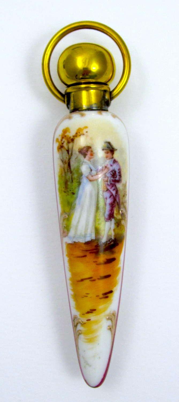 UnusualFine French Antique Icicle Shaped PorcelainPerfume Bottle