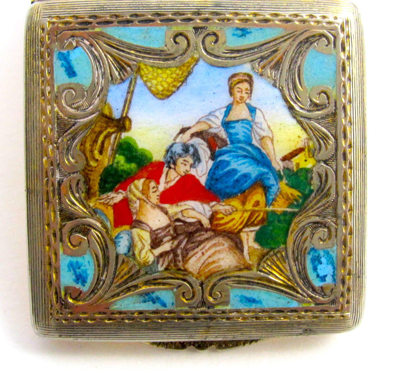 Antique Italian Silver and Enamel Pill Box