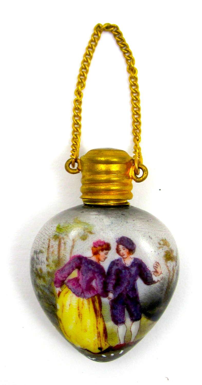 Miniature Antique Heart Shaped French Porcelain Perfume Bottle