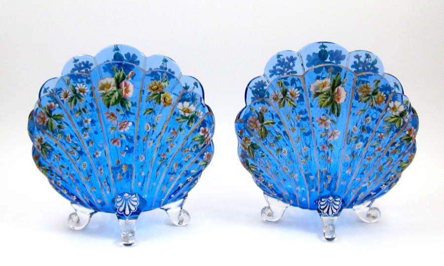 Pair ofLarge ExceptionalAntique TurquoiseMOSER Glass Vases