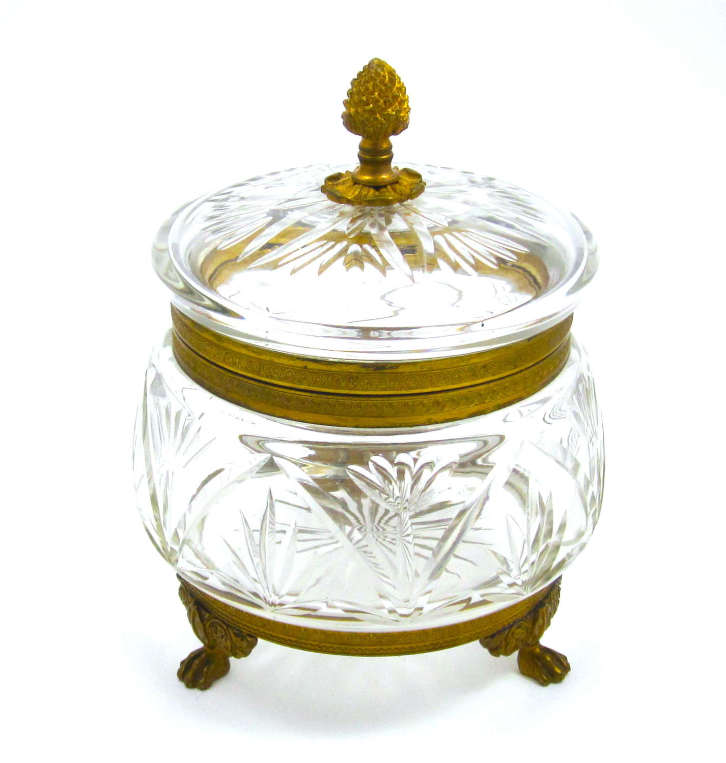 Large Antique French Cut Crystal Casket Box