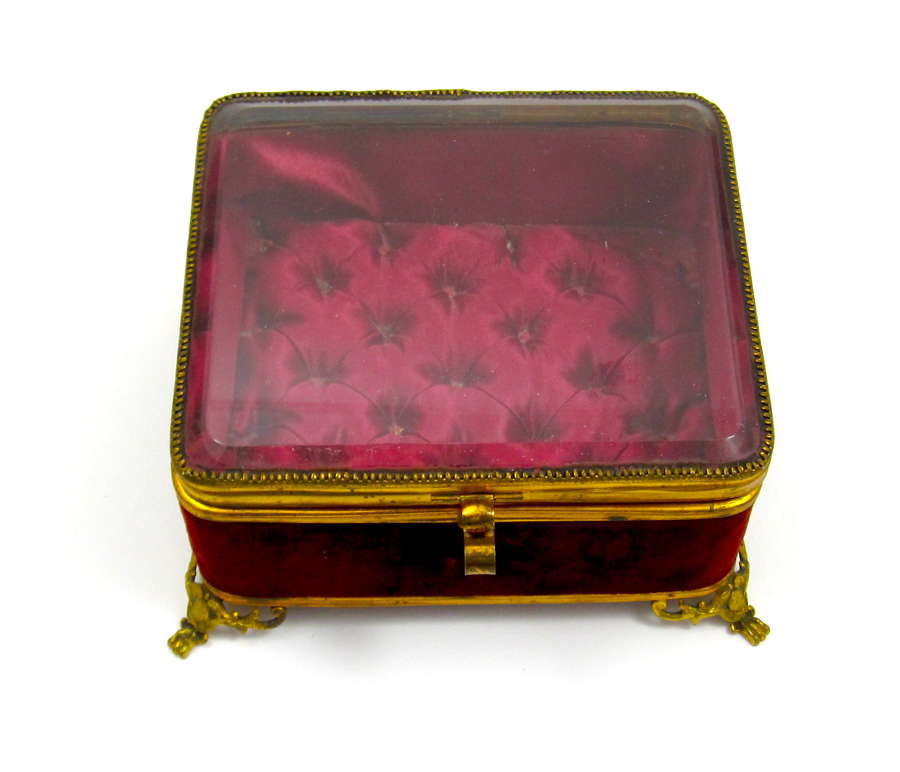 Antique French Jewellery Casket Box with Original Red Silk Interior.
