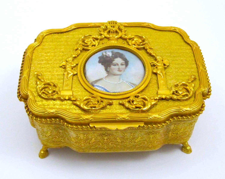 Rare AntiquePalais Royal Dore Bronze Casket Music Box
