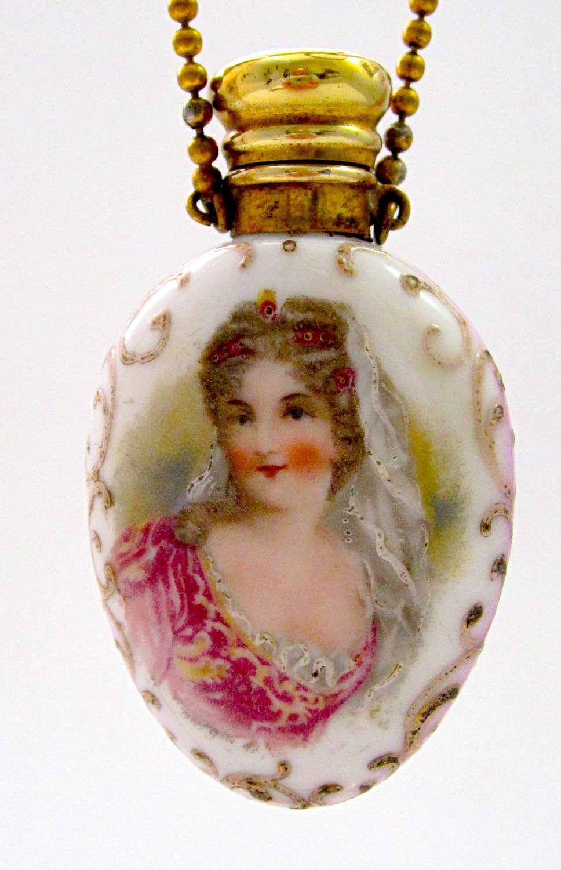 Antique Porcelain Perfume Bottle with Portrait of a Lady