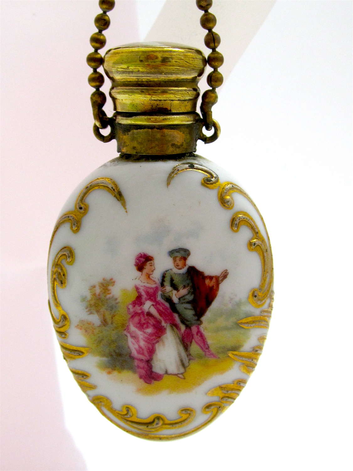 Antique French PorcelainPerfume Bottle with Courting Couple