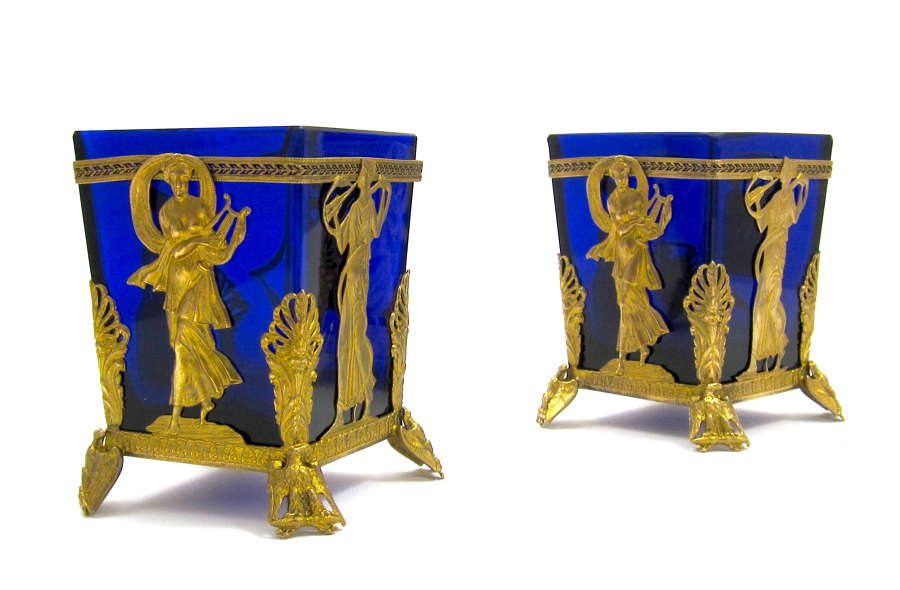 Pair Empire Fine Dore Bronze and Crystal Vases with Classical Figures