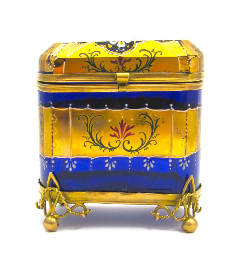 Antique MOSER CobaltBlue Casket Box with Beautiful Flowers
