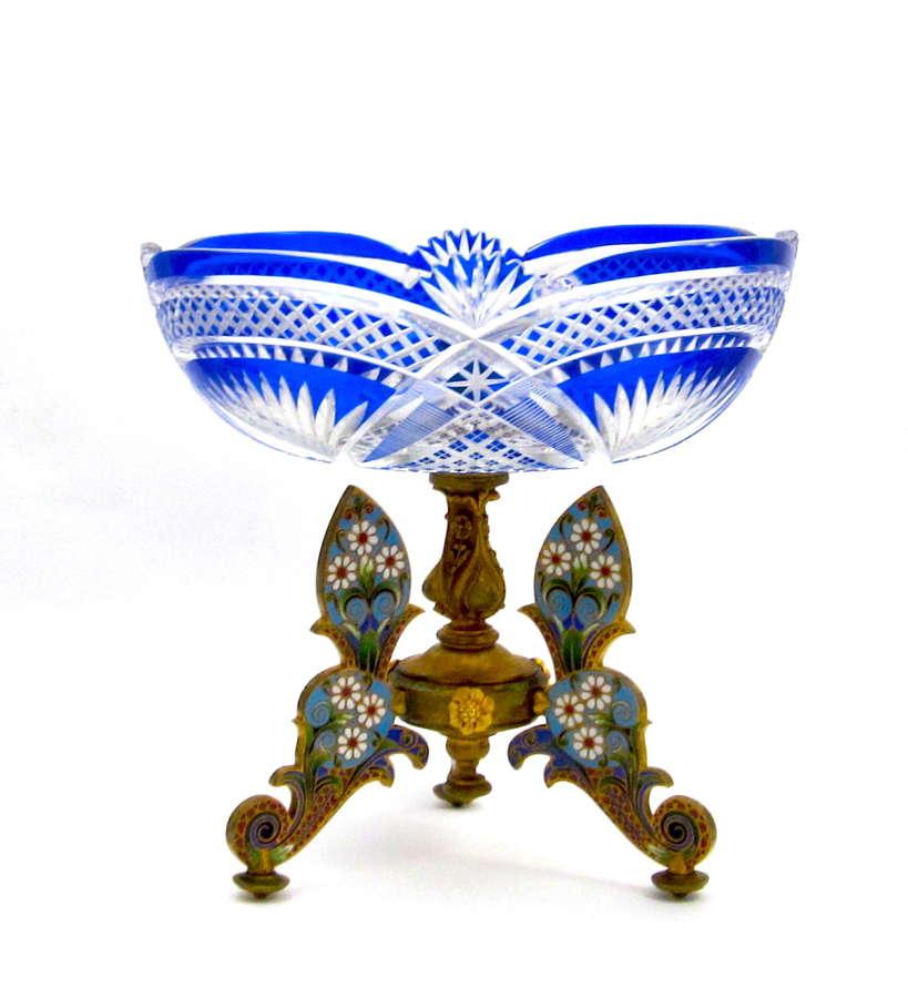 Super AntiqueBACCARAT Crystal and Cloisonné Centrepiece