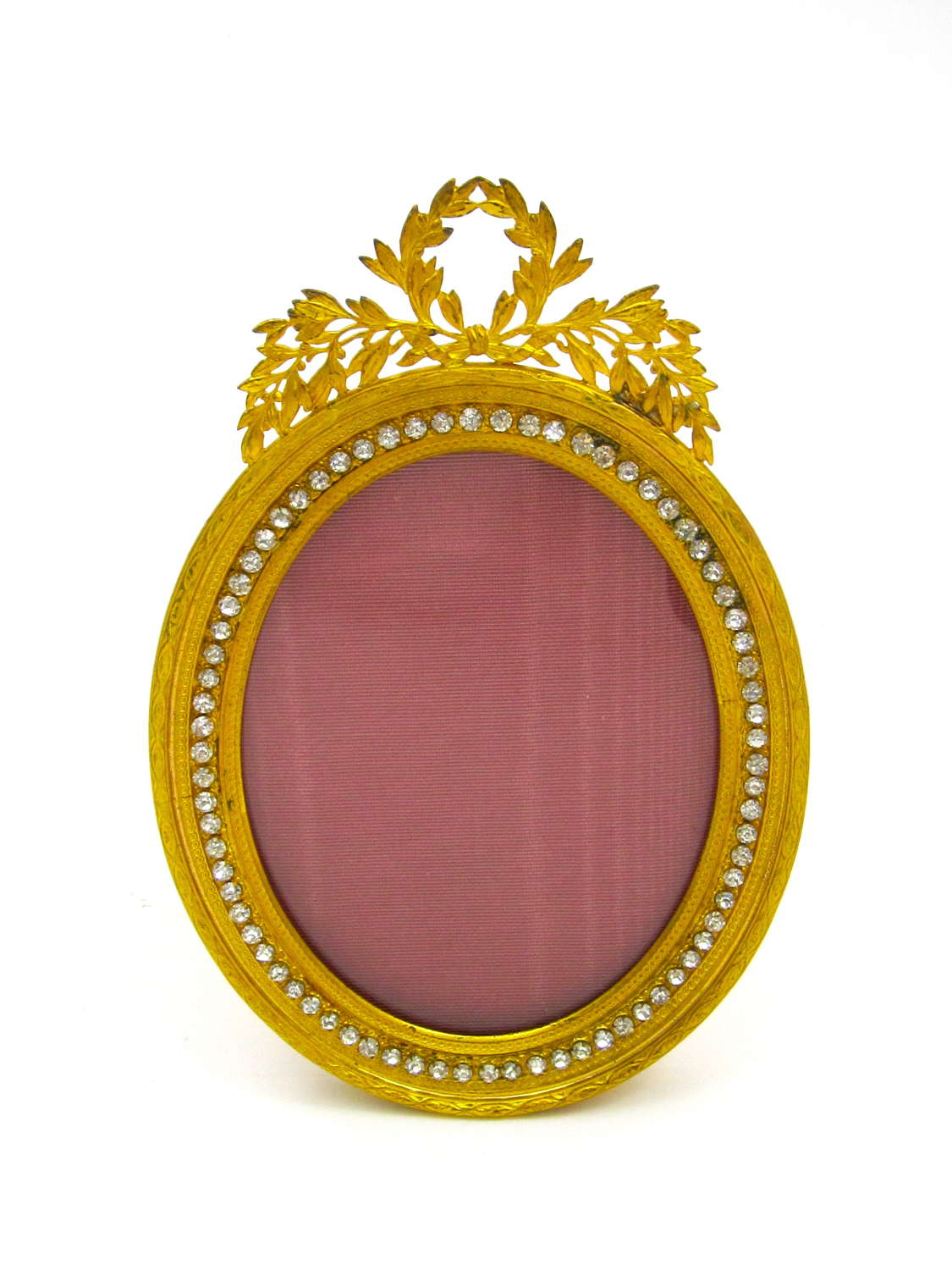 Antique French Empire Dore Bronze and Rose Silk and Diamante Frame