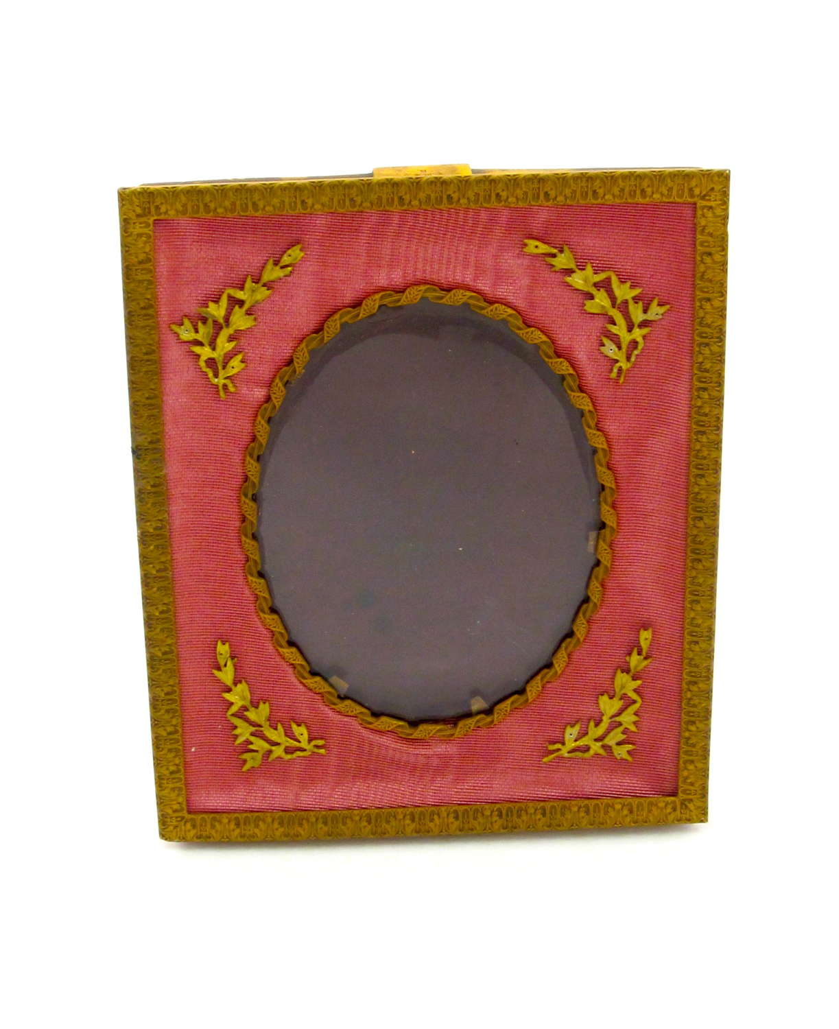 Antique French EmpireDore Bronze and Antique Rose Silk Frame