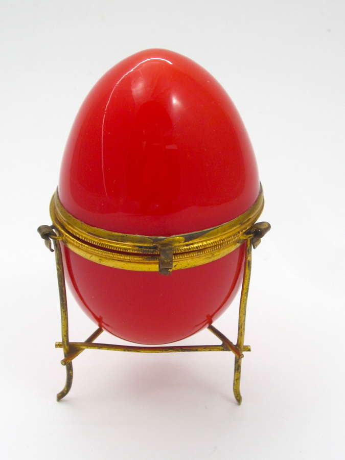 Rare Antique French Red Opaline Glass Egg Box