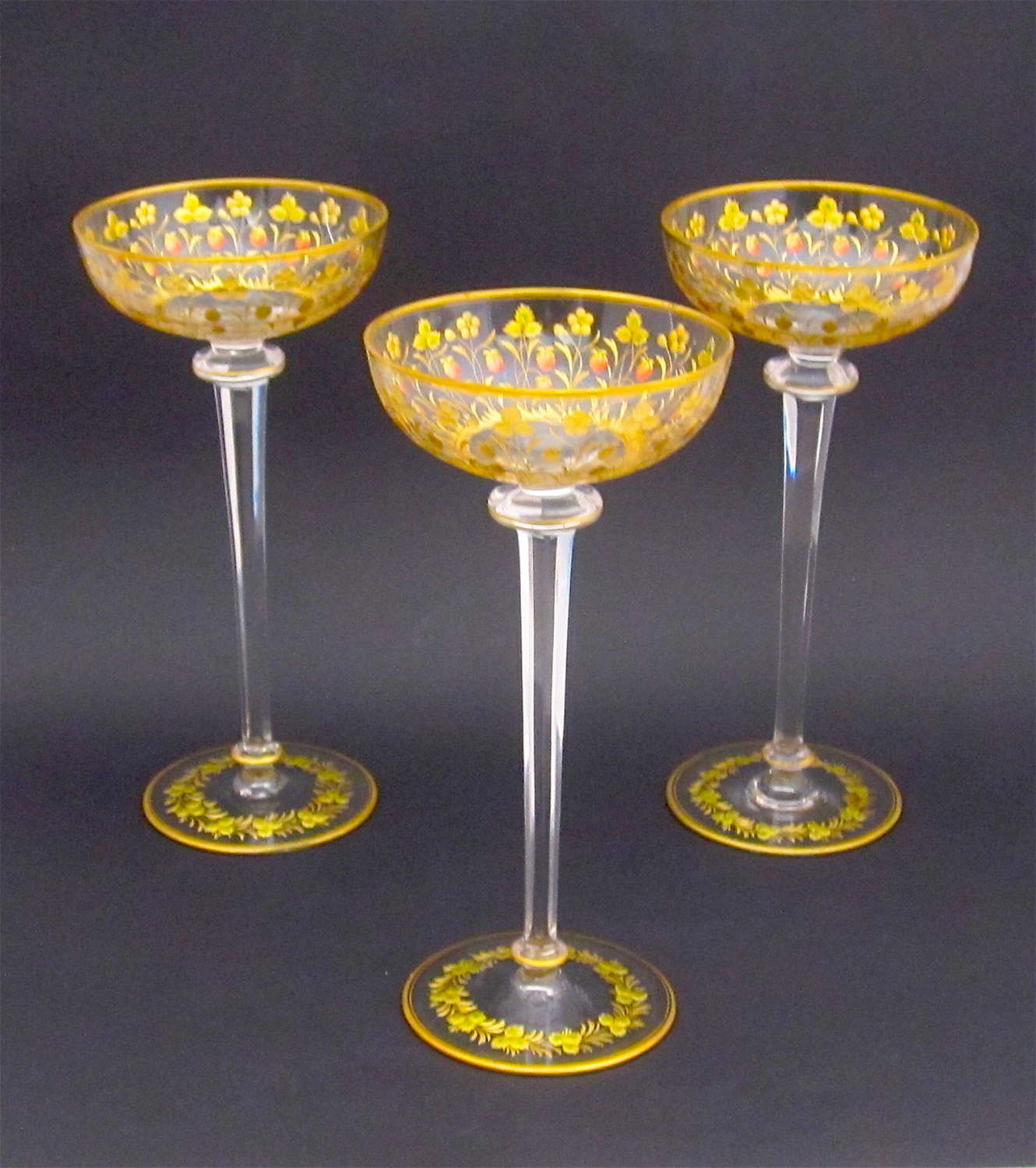 Antique Tall Set of Vases with Enamelled Strawberries