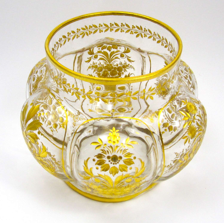 Antique St Louis Gilded Glass Bowl