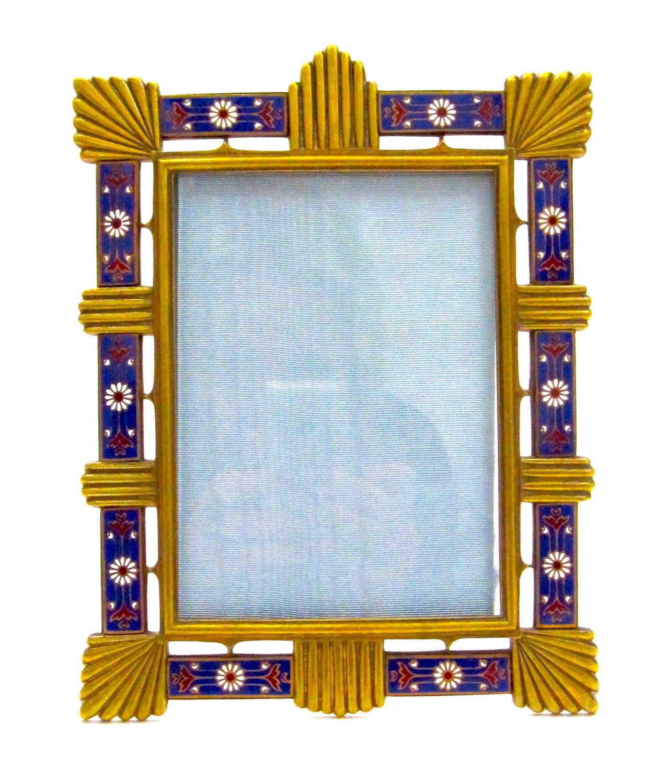 Antique French Art Deco Enamelled Frame