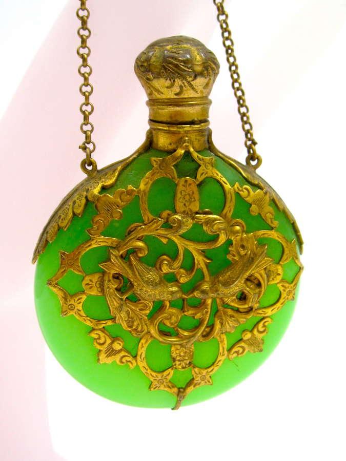 A Superb Antique Palais Royal GreenOpaline Glass Scent Bottle