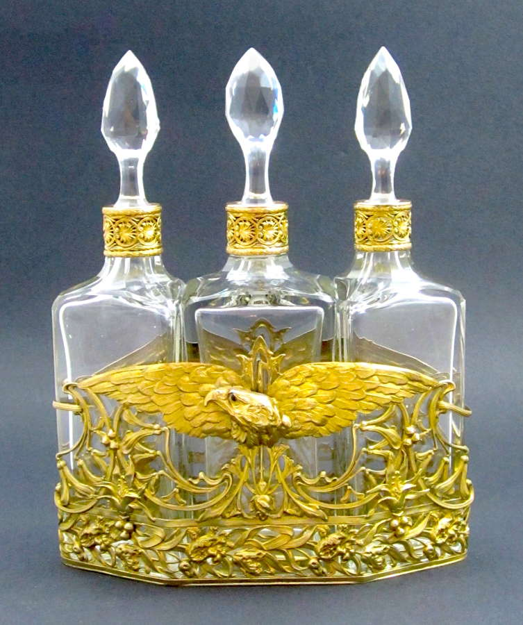HUGE Napoleon III Perfume Bottle Set with French Imperial Eagle