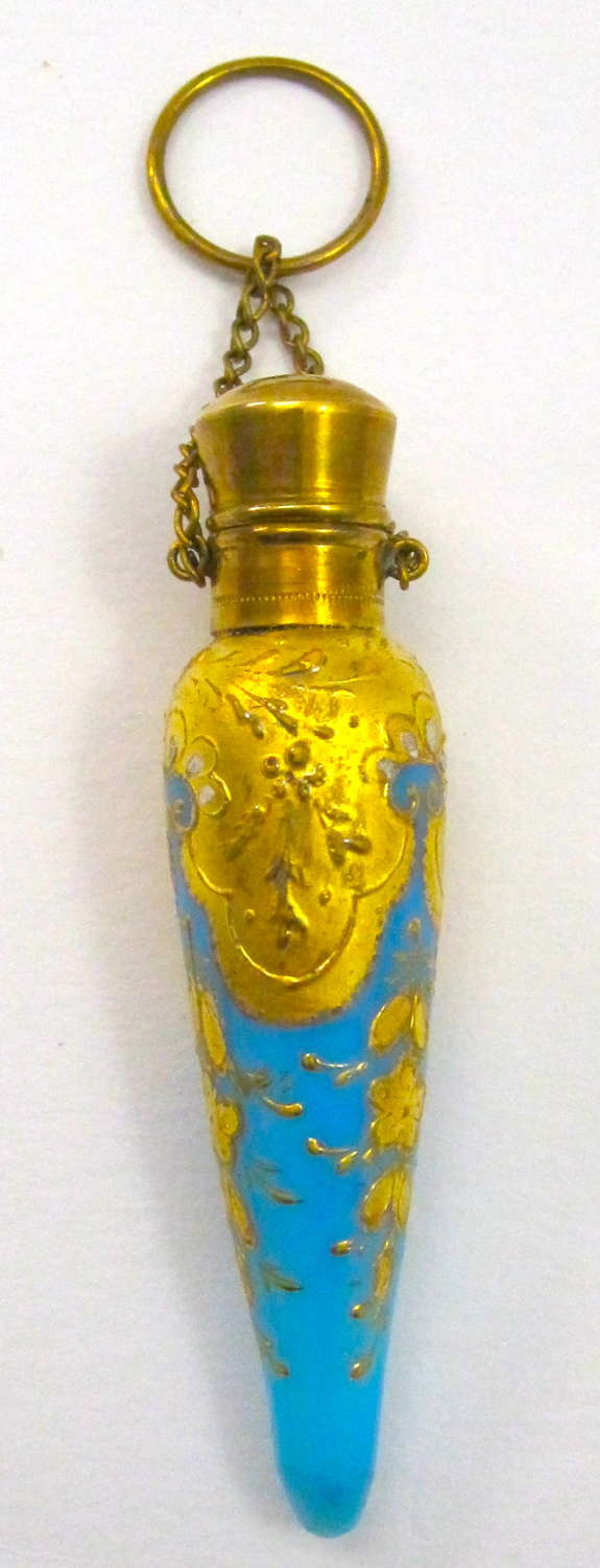 Antique MOSER Turquoise Opaline Glass Icicle Shaped Perfume Bottle
