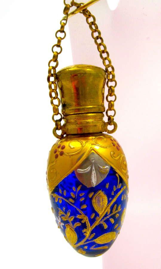 Antique MOSER Cobalt Blue EggShaped Perfume Bottle