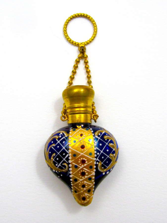 Rare Antique Moser Heart Shaped Perfume Bottle