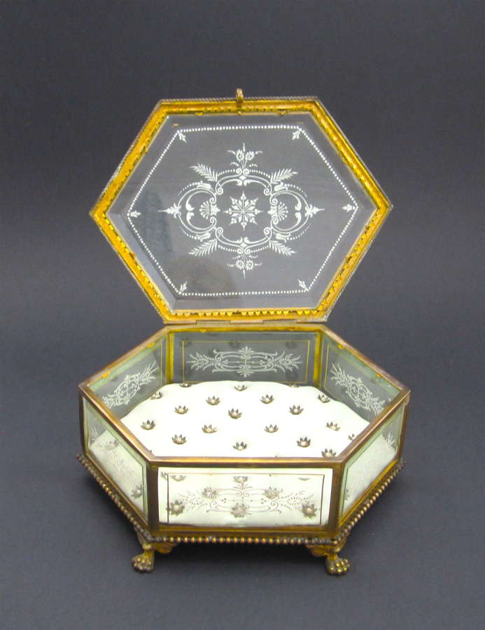 Large Antique Baccarat Dore Bronze and Crystal Jewellery Box