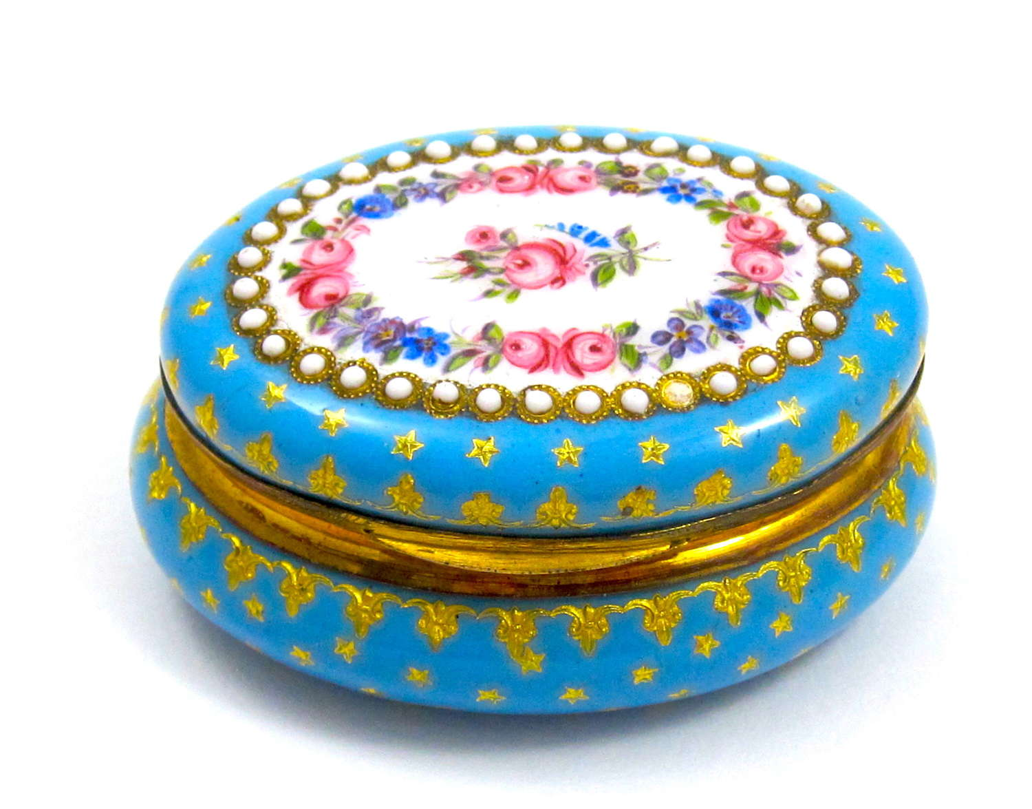 Antique French Turquoise Blue Enamelled Pill Box with Pink Roses