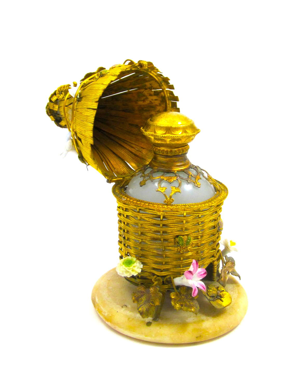 Rare Palais Royal Dore Bronze and Opaline Bee Hive Perfume Bottle Set