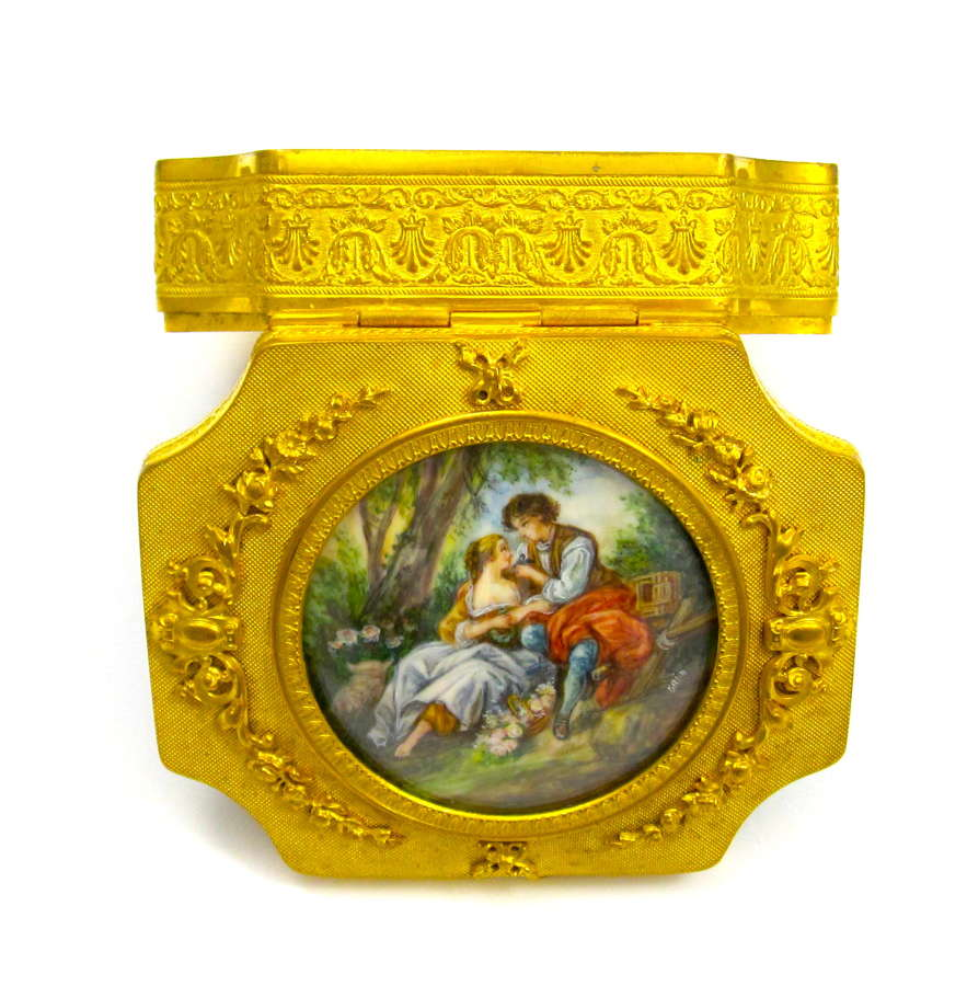 AntiqueFine Palais RoyalDore Bronze Casket with Large Miniature