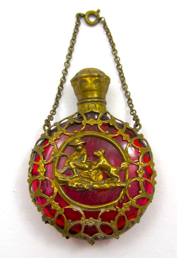 Antique Palais Royal Ruby Red Glass Scent Bottle with Boy and His Dog