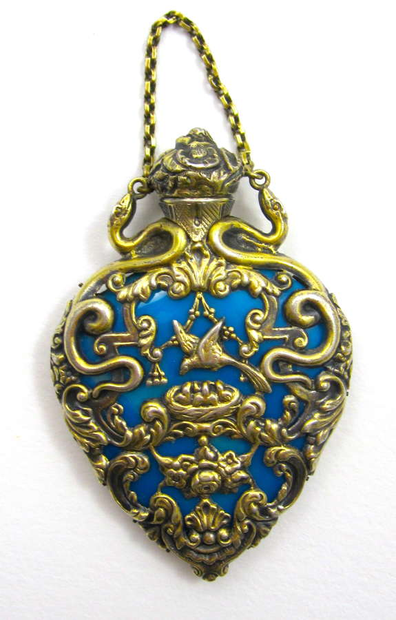 Antique French Blue Opaline Glass Heart Shaped Perfume Bottle