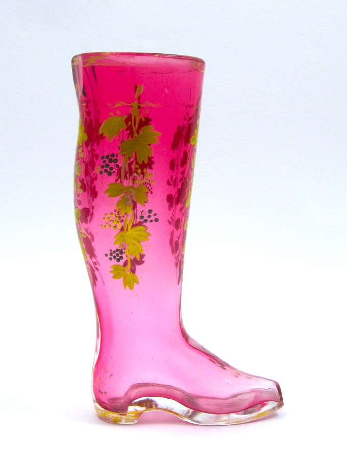 Antique Moser Whimsical Cranberry Glass Boot Drinking Vessel