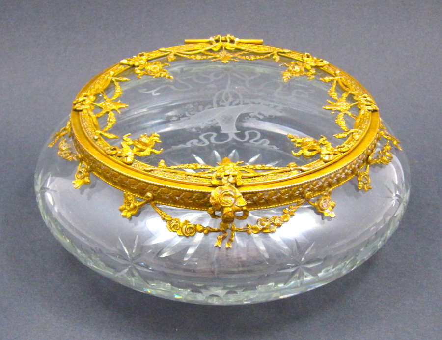 Large French BACCARAT Round Dore Bronze and Crystal Casket