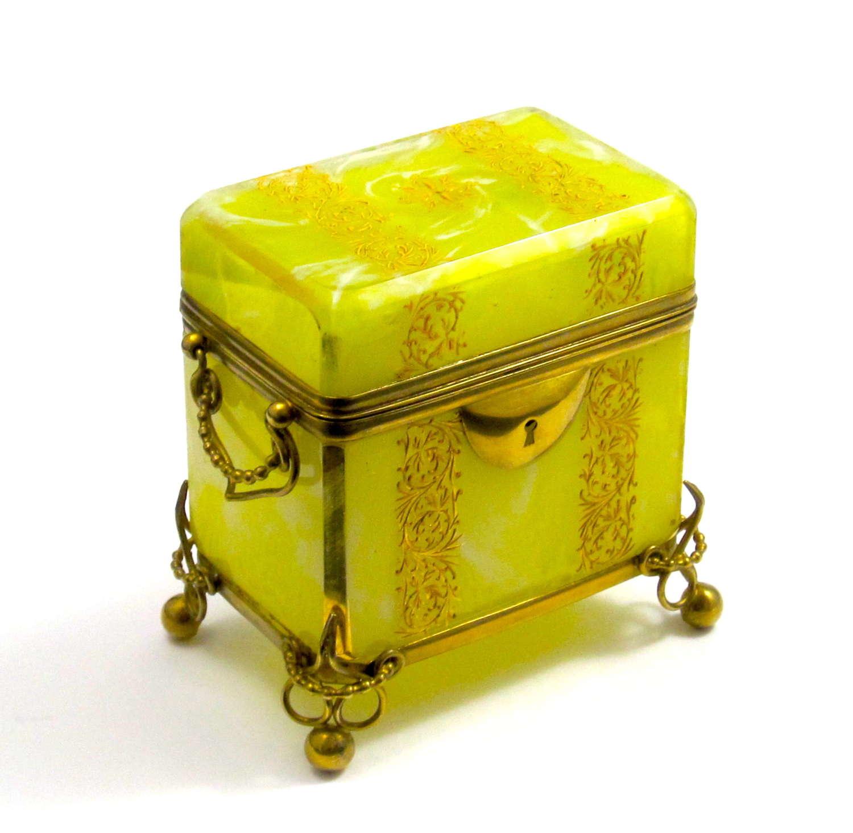 Antique Bohemian MOSER Yellow Opaline Glass Casket Box