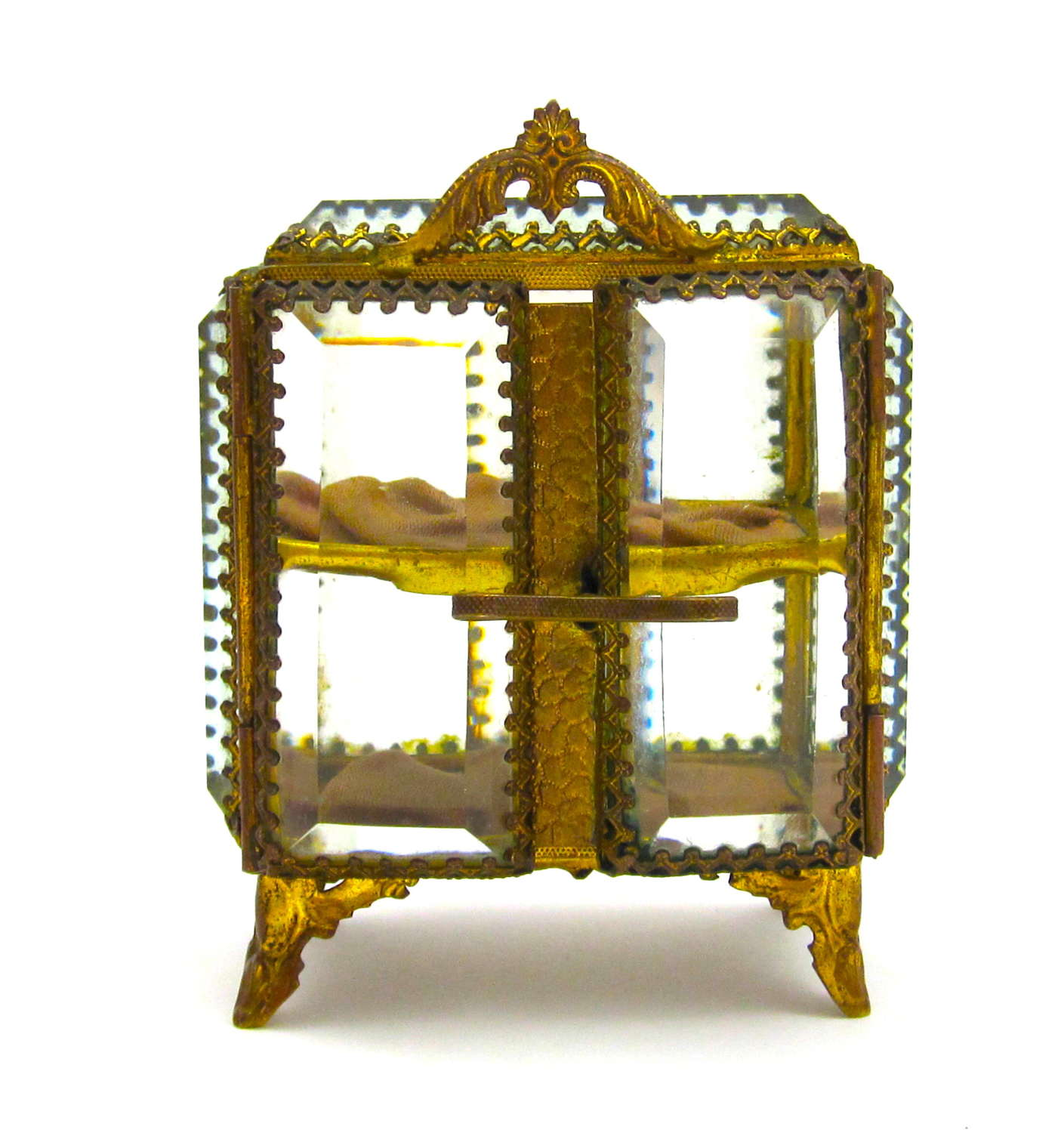 Antique French Vitrine Box with DoubleOpening Bevelled Glass Doors