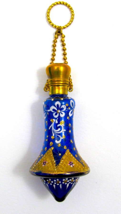 Rare Antique MOSER Bell Shaped Perfume Bottle Chatelaine